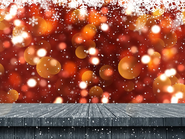 3d wooden table looking out to a christmas snowflake background