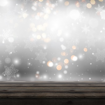 3d wooden table looking out to a defocussed christmas background