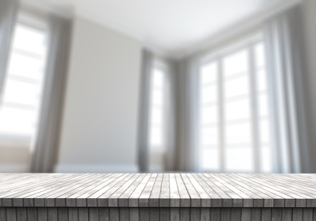 3d wooden table looking out to a defocussed contemporary empty room
