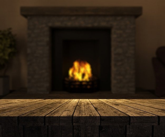 3d wooden table looking out to a defocussed fireplace with roaring fire