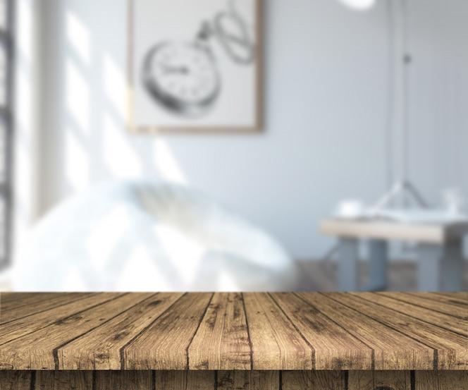 3d wooden table looking out to a defocussed room interior