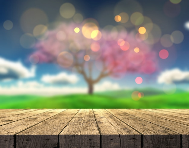 3d wooden table looking out to a defocussed summer landscape with cherry tree