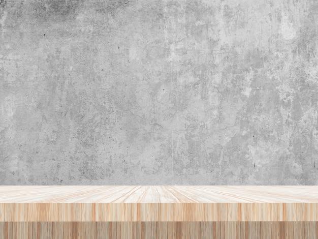 빈 콘크리트 벽을 바라 보는 3d 나무 테이블