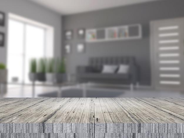 3d деревянный стол с видом на расфокусированный интерьер комнаты