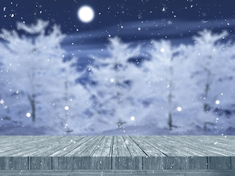 雪に覆われた木の風景を見渡す3 Dの木製テーブル