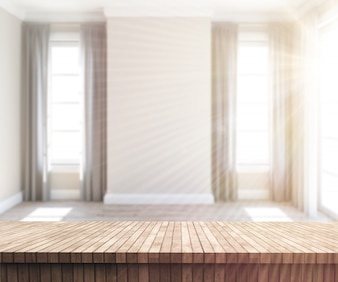 3D wooden table looking out to a sunny empty room