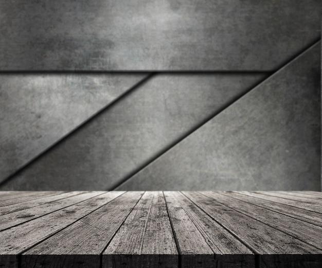 추상 금속 벽을 바라 보는 3d 나무 테이블