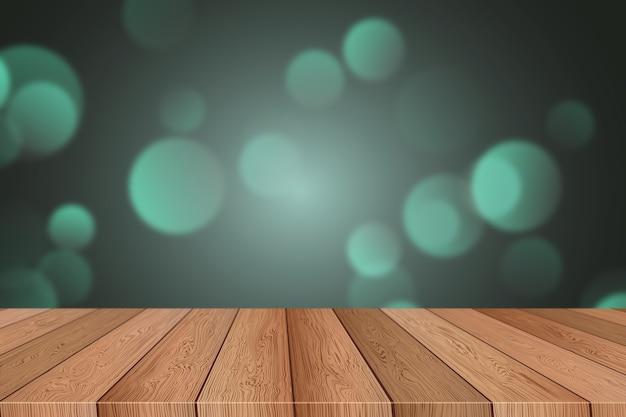 クリスマスボケライトの背景と3d木製テーブル
