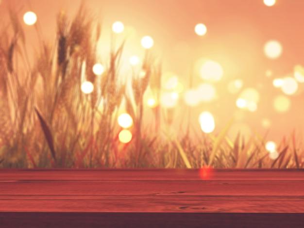背景にdefocussed秋小麦と3d木製のテーブル