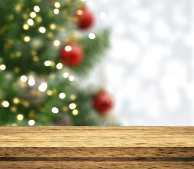 3d wooden tale looking out to a defocussed christmas tree