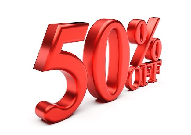 3d слова 50 процентов, изолированные на белом фоне
