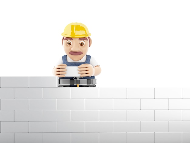 3d worker building brick wall at construction site