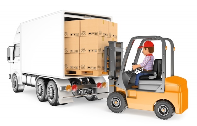 3d worker driving a forklift loading a truck