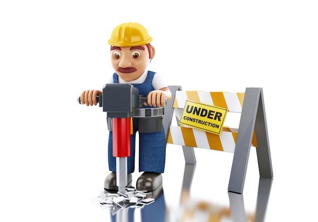 ジャックハンマーと建設標識の下で3d労働者。