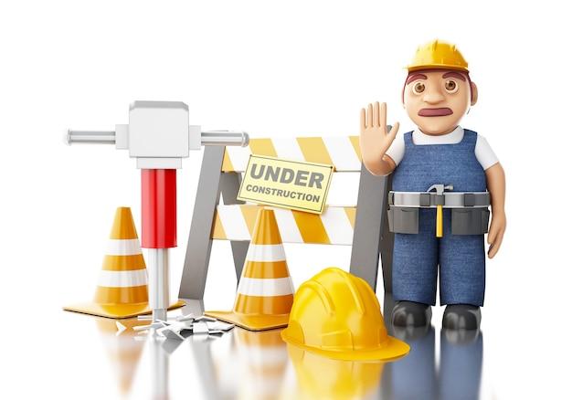 3d работник с отбойным молотком, конусами и под строительство знак