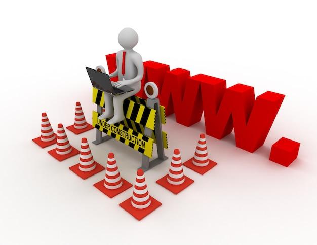 3d рабочий с ноутбуком сидит на знаке в стадии строительства. сделанная иллюстрация