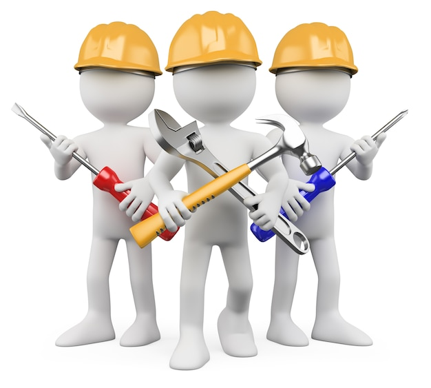3d workers with tools