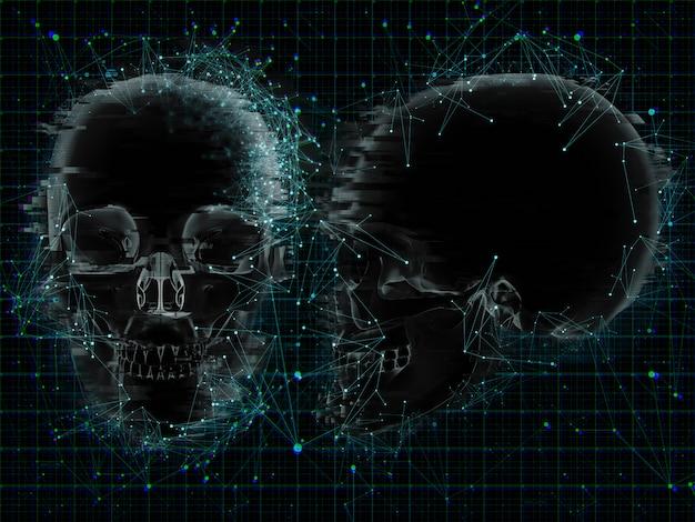 3d медицинский фон с низким поли-дизайном на xray черепов