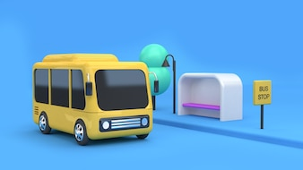 3d yellow bus-bus stop cartoon style 3d rendering transportation of city concept