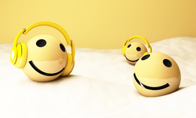 3d yellow emojis with headphones