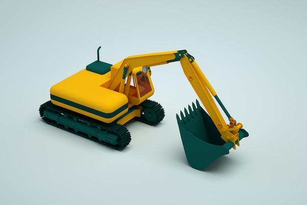 3d黄色の掘削機は白い孤立した背景の上に立っています。黄色の掘削機の3dオブジェクト。重機。閉じる。側面図。