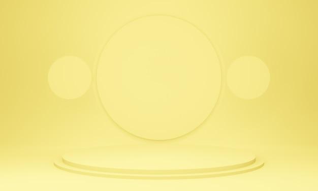 3d 노란색 기하학적 무대 연단