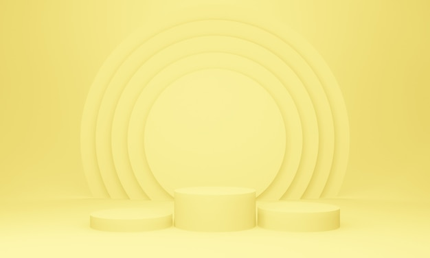 3d黄色の幾何学的なステージ表彰台