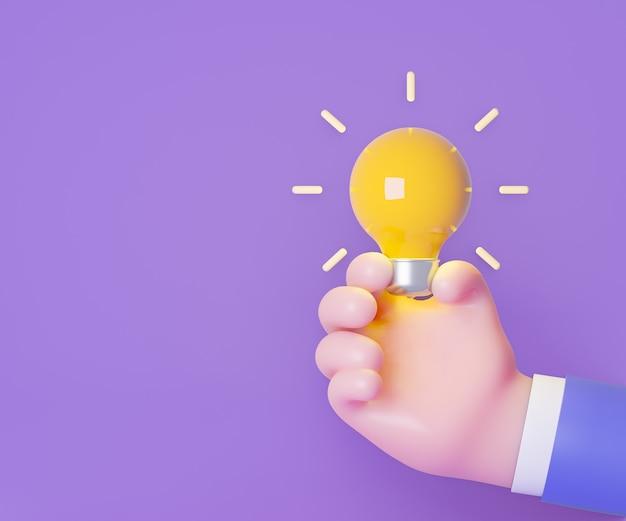 3d黄色の電球は、紫色の背景に漫画の手で保持します。 3dイラストレーションレンダリング。