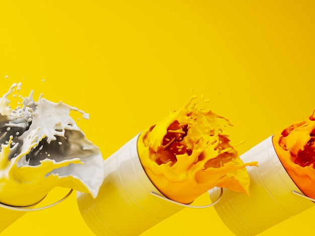 3d yellow paint splashing out of can