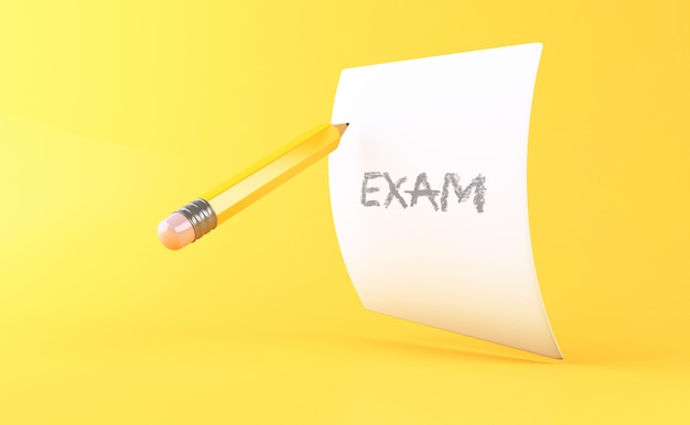 3d yellow pencil with sheet of paper. education