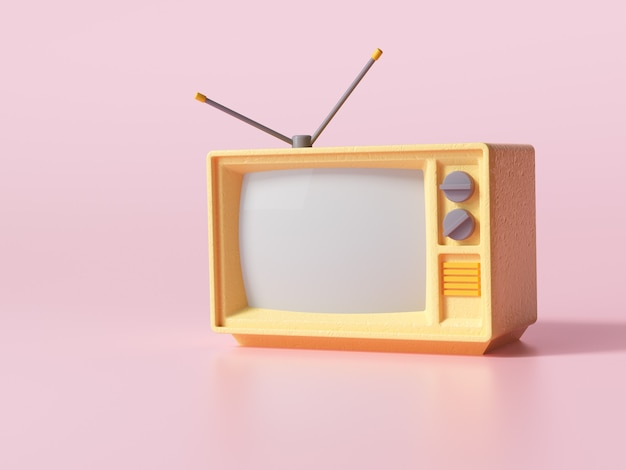 분홍색 배경의 3d 노란색 레트로 올드 텔레비전, 복사 공간이 있는 빈티지 아날로그 tv. 3d 렌더링 그림입니다.
