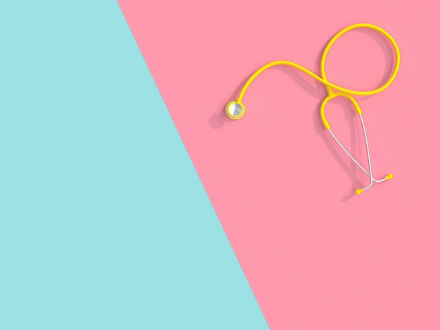 3d of a yellow stethoscope on a pink and blue background.