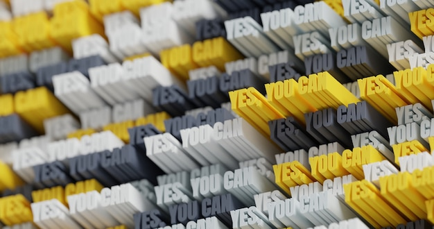 3d 예, 할 수 있습니다! 추상 인쇄 상의 3d 글자 배경입니다. 노란색, 흰색, 회색 및 검은색의 현대적인 밝고 트렌디한 동기 부여 단어 패턴입니다. 현대적인 표지와 배경