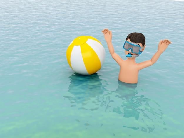 3d молодых людей с пляжный мяч в воде.
