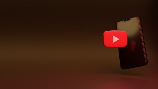 모바일 화면과 확성기가 있는 3d youtube 아이콘