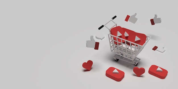 3d youtube logo on cart, flying like and love for creative marketing concept with white surface rendered