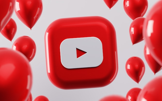 3d логотип youtube с глянцевыми воздушными шарами