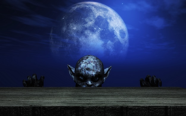 3d zombie looking over a wooden table against a moonlit sky