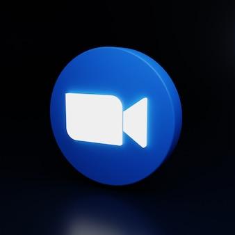 3dズームロゴアイコンが高品質のレンダリングで光ります