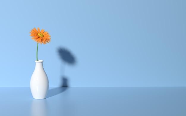 3d визуализация ромашка на синем фоне