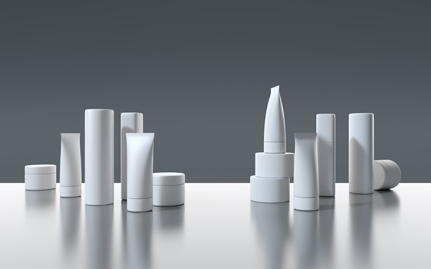 3d визуализация белые косметические продукты