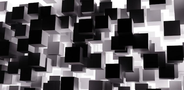 3d визуализация абстрактный кубики фон с черно-белым цветом