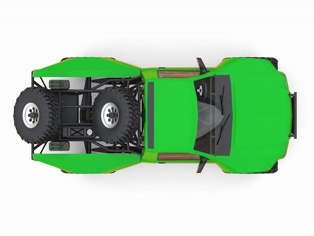 Самый подготовленный зеленый спортивный гоночный грузовик для пустынной местности. 3d иллюстрации