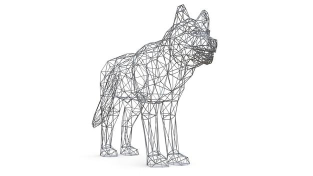 3d-рендеринг сетка собака на белом фоне