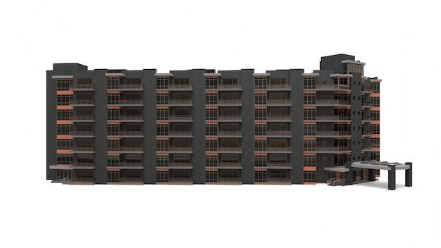 マンションの3dモデル。中庭のある集合住宅