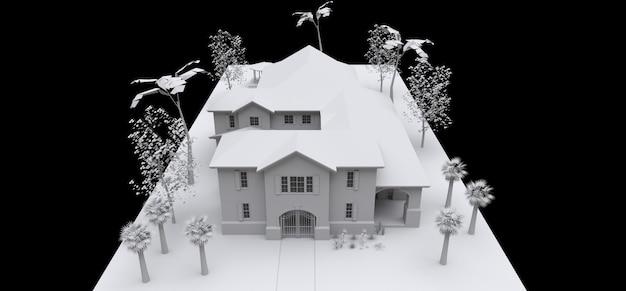 Большой дом с садом и бассейном. 3d модель в белом на черном фоне