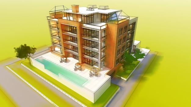 Небольшой функциональный кондоминиум с собственной огороженной территорией, гаражом и бассейном. 3d иллюстрации в стиле рисованной, имитация карандаша и акварель