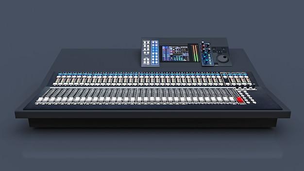 灰色の空間でのスタジオ作業やライブパフォーマンス用の中型灰色のミキシングコンソール。 3dレンダリング。
