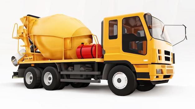 オレンジコンクリートミキサートラックホワイトスペース。建設機械の立体イラストレーション。 3dレンダリング。