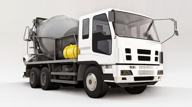 白いタクシーと白いスペースに灰色のミキサーのコンクリートミキサー車。建設機械の立体イラストレーション。 3dレンダリング。